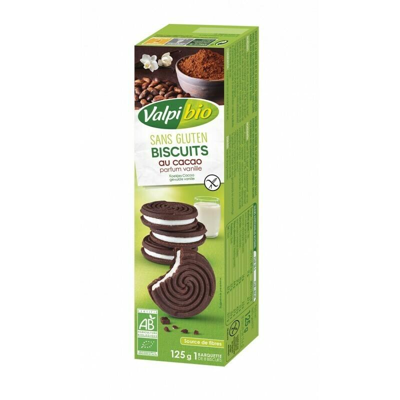 Valpi Bio Koekjes Cacao gevulde vanille 125 g
