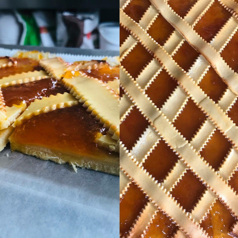 Miolo Kruimeldeegtaart met abrikozenconfituur 100 g ( GV- LV- Vegetarisch - BIO) Bestellen voor dinsdag 18 uur voor levering op Zaterdag !