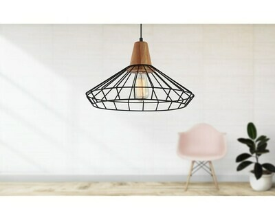 Design hanglamp zwart en hout