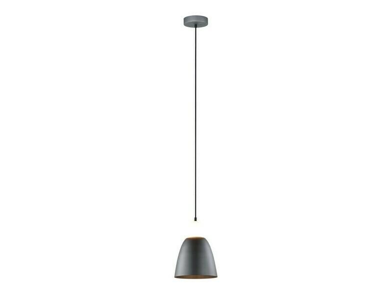 Design hanglamp matdonkergrijs +wit glas LED