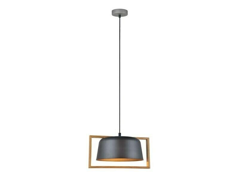 Design LED hanglamp Wit/Zwart met hout