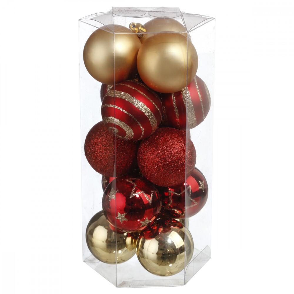 Kerstballenset - 15 stuks - 5cm - Verschillende combinatiekleuren