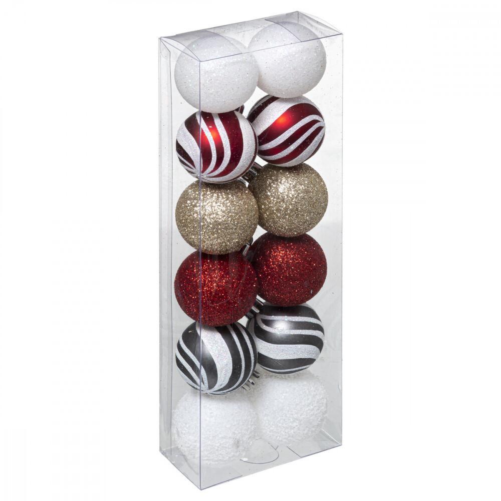 Kerstballenset 12 stuks - 4cm - Verschillende kleurcombinaties