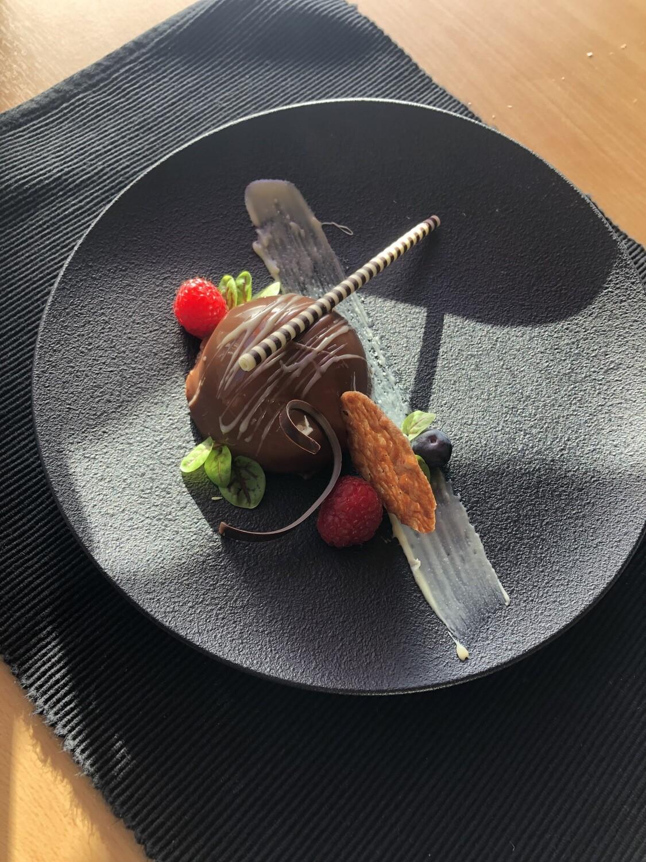 Dessertbord:  Chocoladefantasie (Ganache/framboos/engelse room)