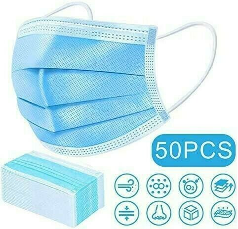 3Ply EarLoop Disposable Face Mask-50ct