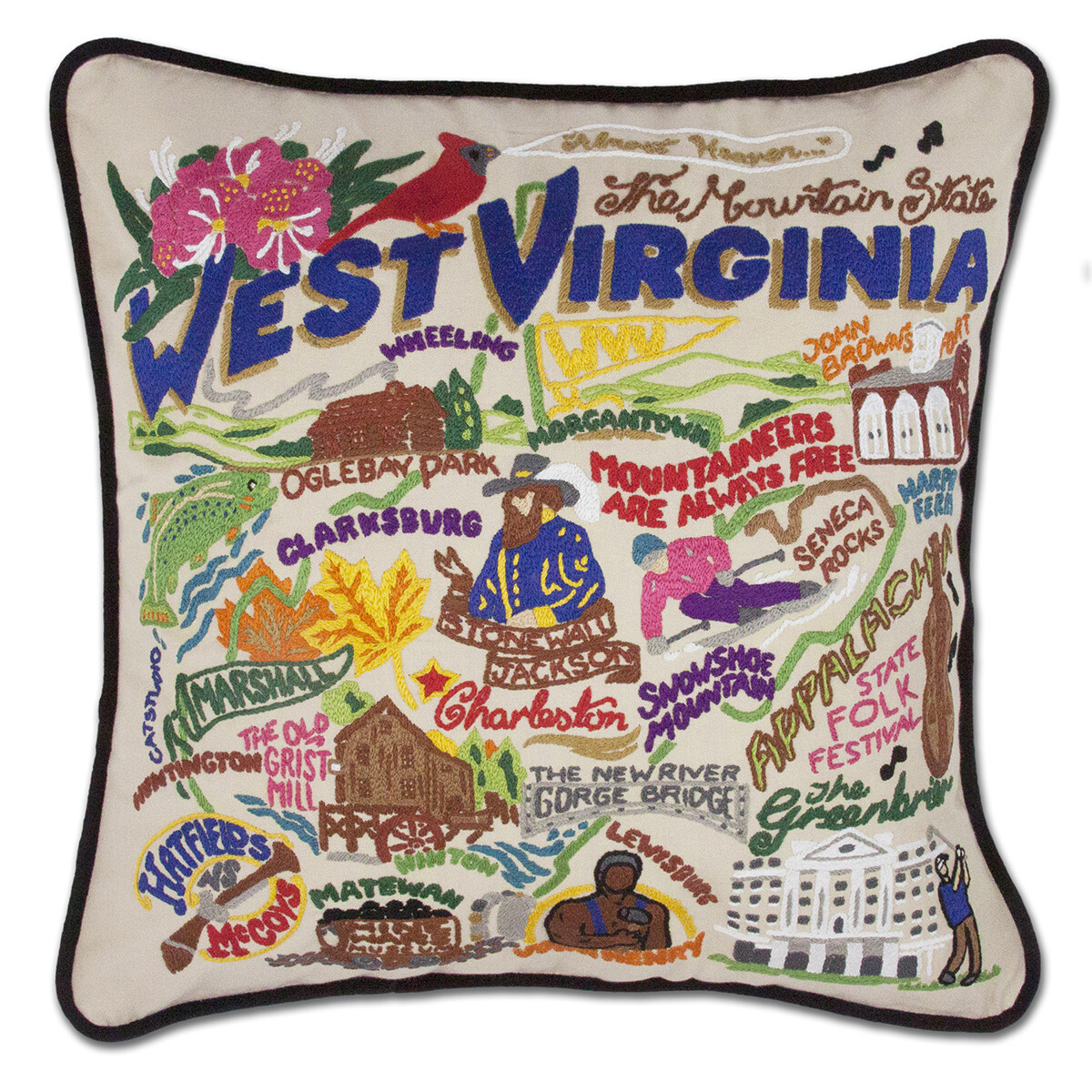 Catstudio West Virginia Hand-Embroidered Pillow