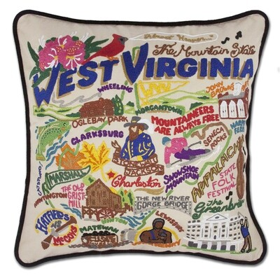 ​Catstudio West Virginia Hand-Embroidered Pillow