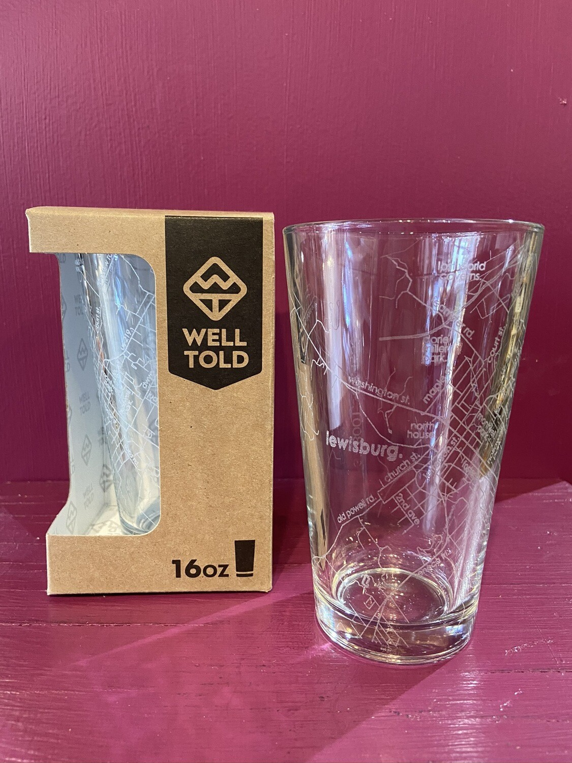 Well Told Home Town Maps Pint Glass - LWB
