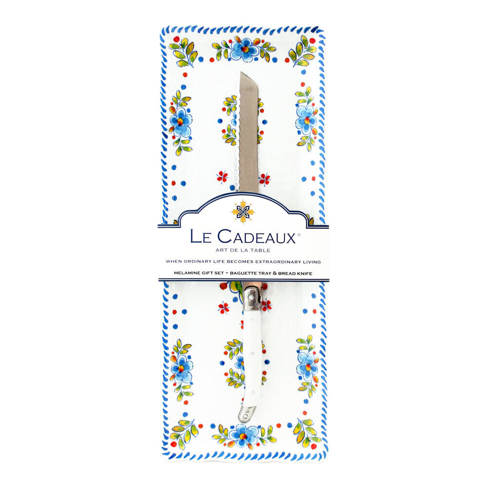 Le Cadeaux Bread Tray with Bread Knife Madrid White