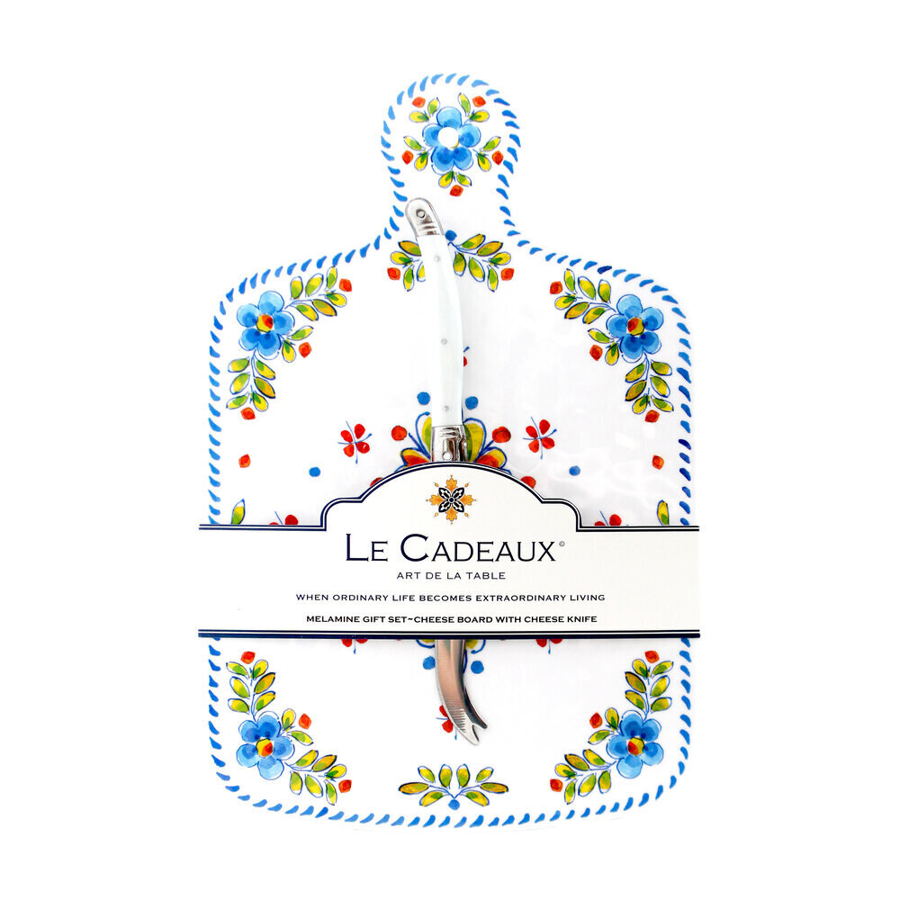 Le Cadeaux Cheese Board with Cheese Knife Gift Set Madrid White