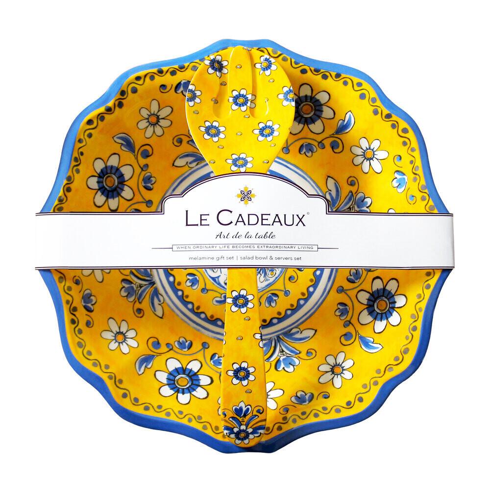 Le Cadeaux Salad Bowl and Servers Gift Set Benidorm