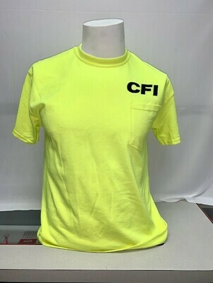 T-SHIRTS (POCKET) SAFETY GREEN - LARGE