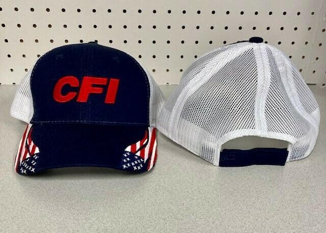 STRUCTURED AMERICAN FLAG CAP (FLG-300M) - NAVY/WHITE