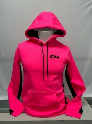 SPORT-TEK LADIES FLEECE COLORBLOCK HOODIE (LST235) NEON PINK - XL