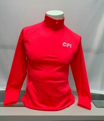 SPORT-TEK LADIES 1/2 ZIP PULLOVER (LST850) HOT CORAL - LARGE
