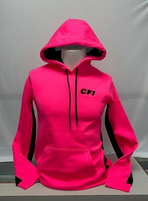 SPORT-TEK LADIES FLEECE COLORBLOCK HOODIE (LST235) NEON PINK - LARGE