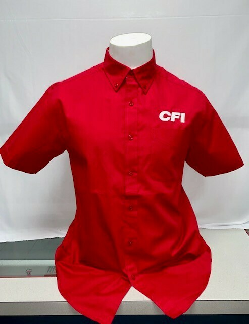 SHIRT BUTTON UP (SS) (S508) RED - LARGE