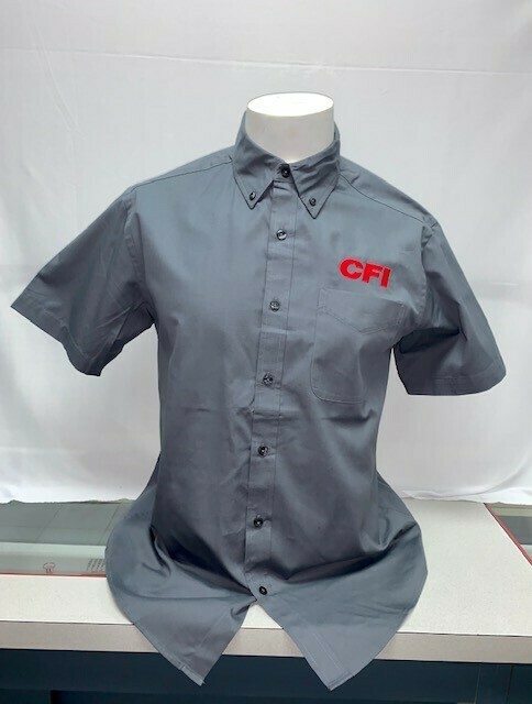 SHIRT BUTTON UP (SS) (S508) GREY - SMALL