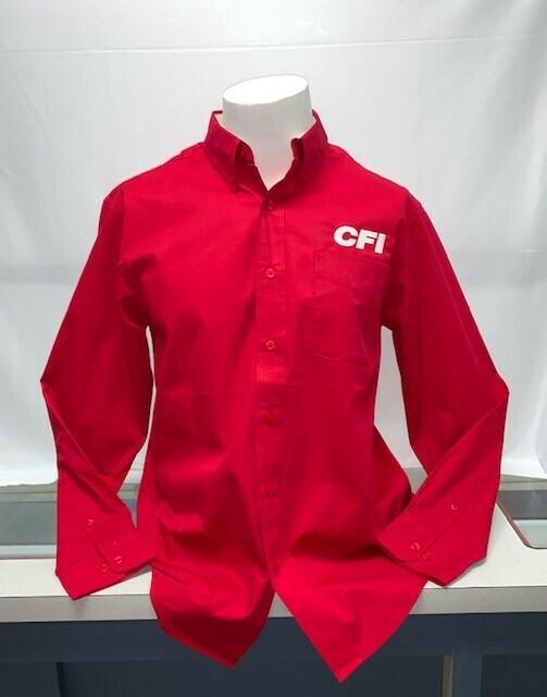 SHIRT BUTTON UP (LS) (S608) RED - LARGE