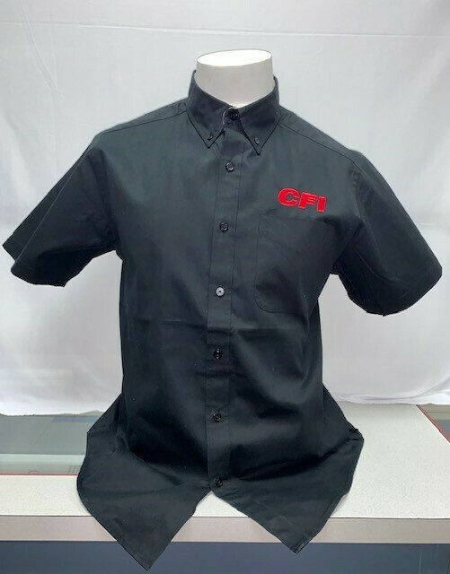 SHIRT BUTTON UP (SS) (S508) BLACK - SMALL