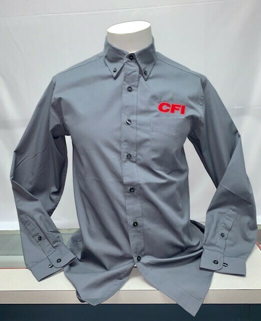 SHIRT BUTTON UP (LS) (S608) GREY - SMALL