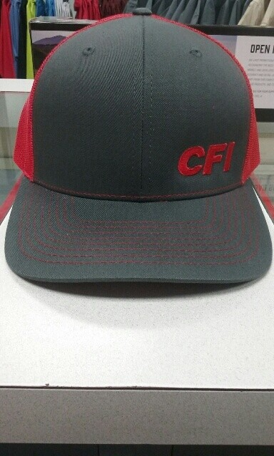 RICHARDSON 112 MESH SNAPBACK HAT - CHARCOAL/RED