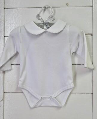 Long Sleeve Body Suit w/ Bebe Collar White 0-3 mos