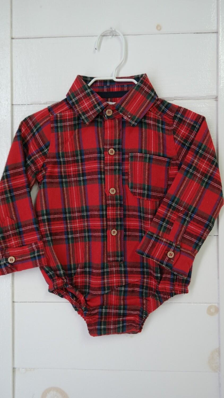 Flannel plaid L/S body suit - red plaid 9-12mos