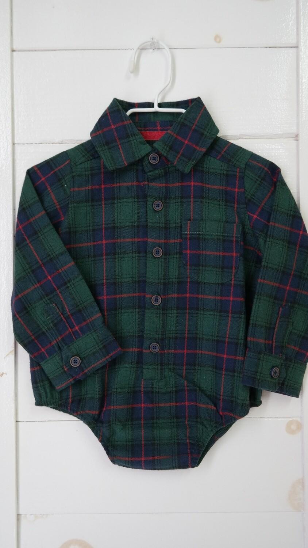 Flannel plaid L/S body suit - green plaid 6-9mos
