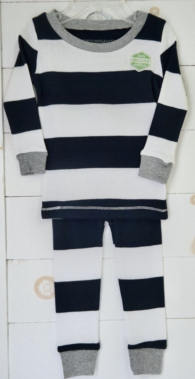 Burts Bees Baby 2 pc Pajama set - navy/white stripe 5