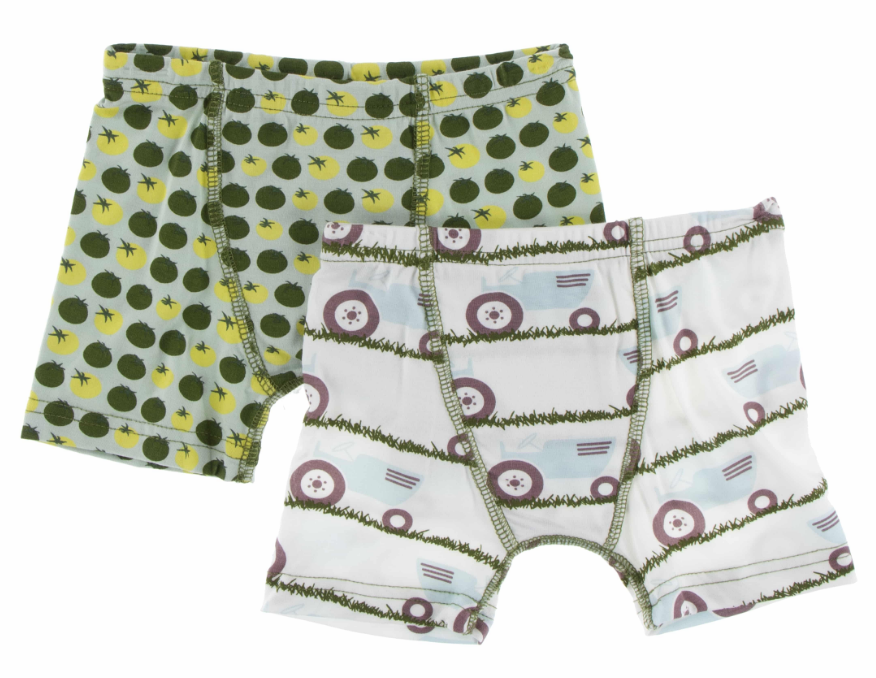 boxer briefs - natural tractor & grass 6/8