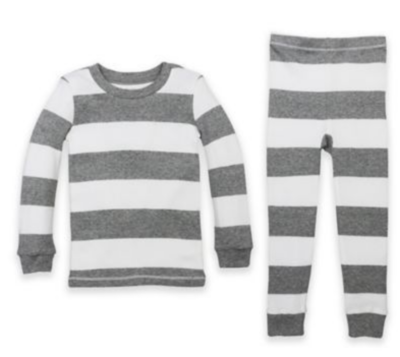 Burts Bees Baby 2 pc Pajama set - grey/white stripe 5