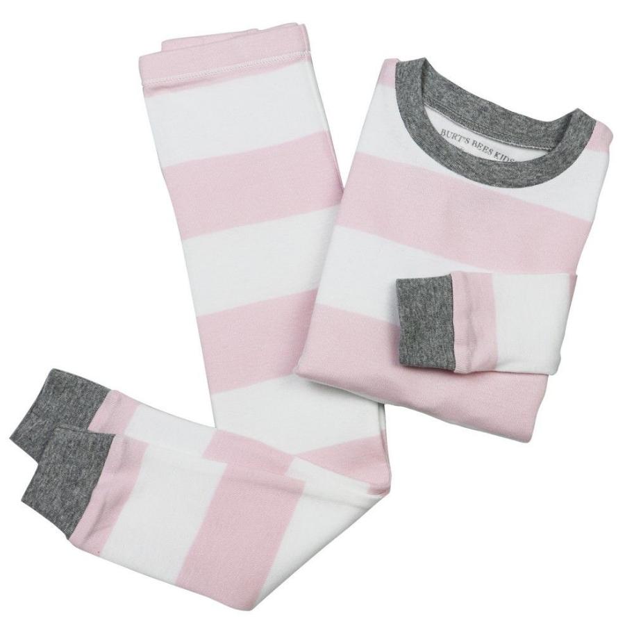 Burts Bees Baby 2 pc Pajama set - pink/white stripe 6
