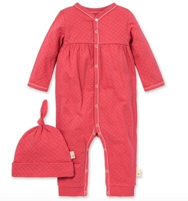 Honeycomb Pointelle Jumpsuit & Knot hat set Radish