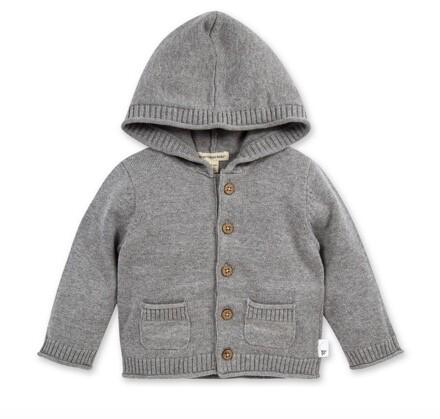 Hooded knit cardigan grey