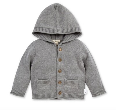 Hooded knit cardigan grey