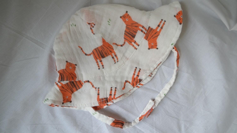 muslin sun hat - tigers 6-12