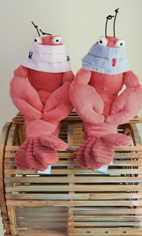 Kids Pink Seersucker Mask w/blue lobsters