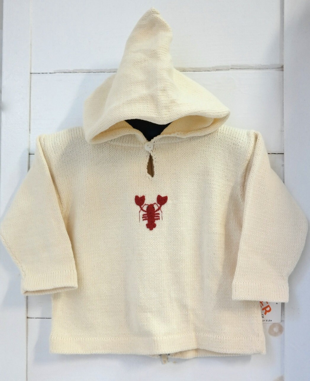 Claver Zip up hooded sweater - 24 mos ecru cotton