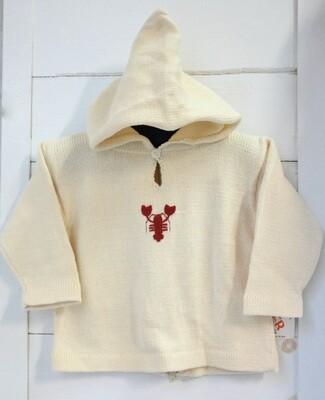 Claver Zip up hooded sweater - 18 mos ecru cotton