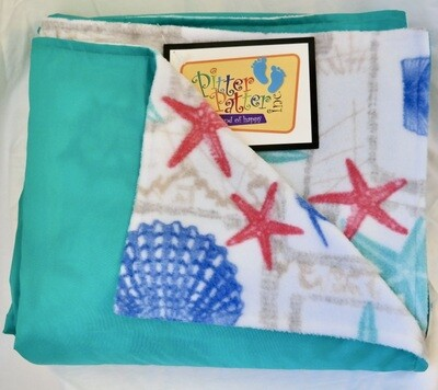 nautical starfish/aqua (family size)