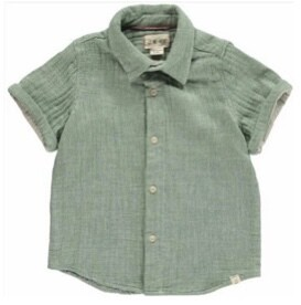 Me & Henry Sage Muslin Button Down 3 4