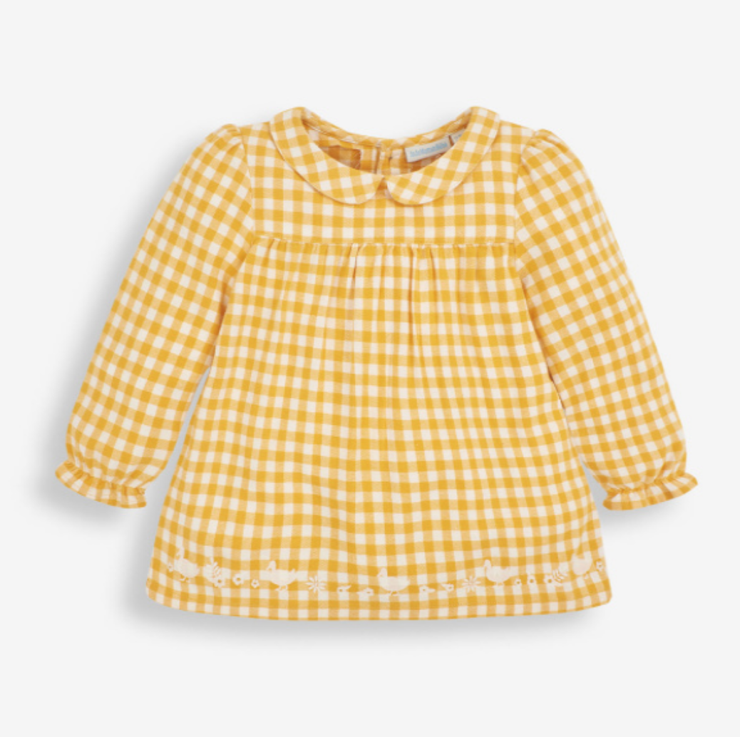 Gingham embroidered Peter Pan Blouse mustard