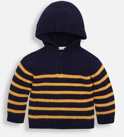 striped hooded sweater navy/gold
