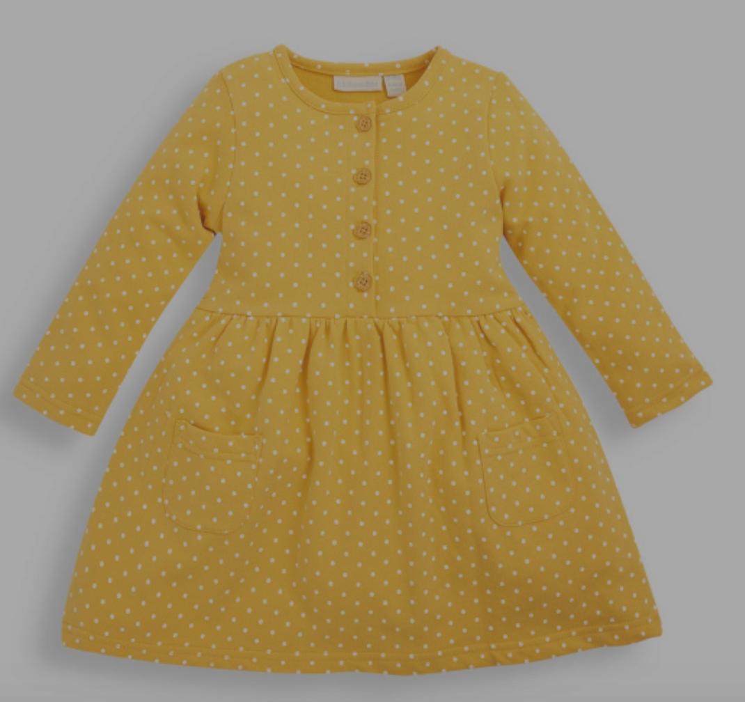 Jojo yellow dot dress