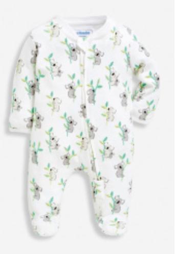 Koala print zip sleepsuit