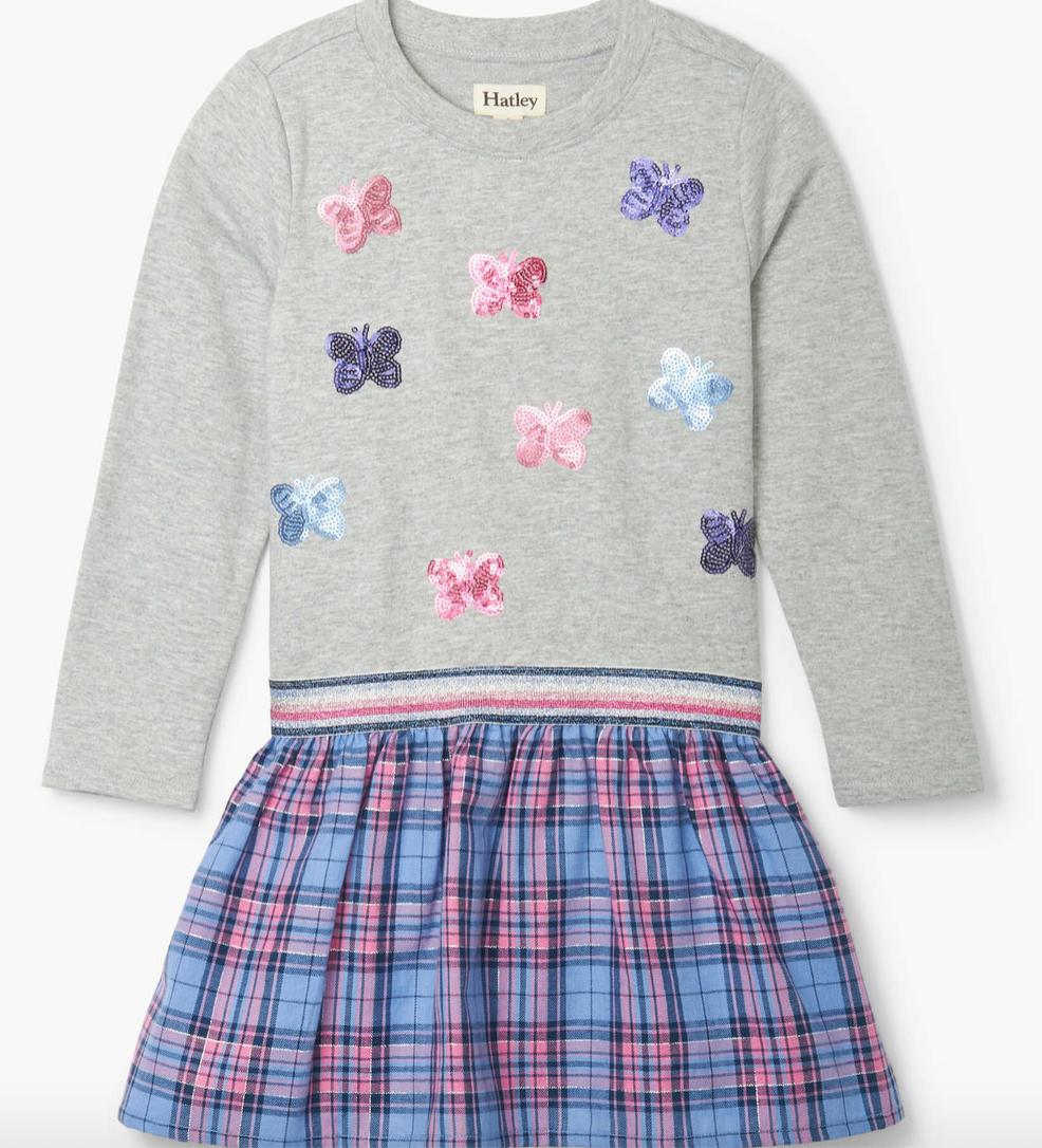 mini butterflies elastic waist dress