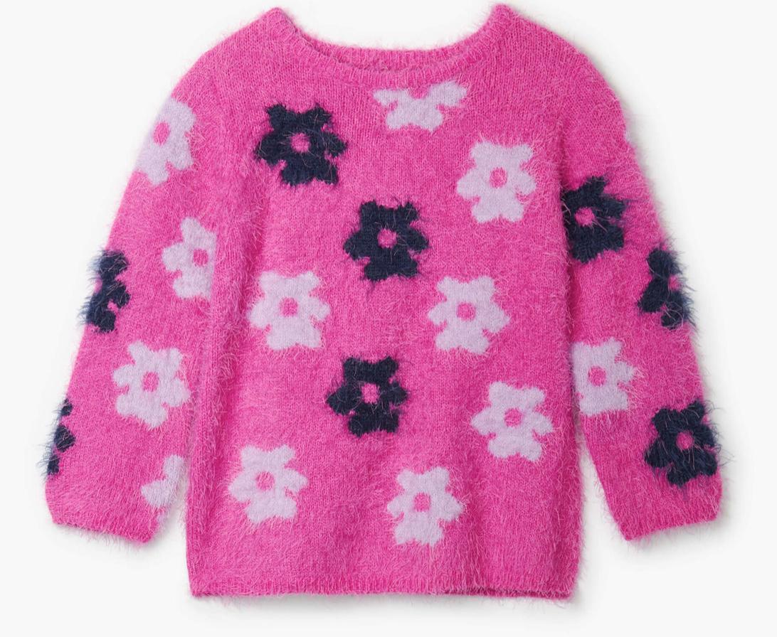 Retro Flowers Fuzzy Sweater