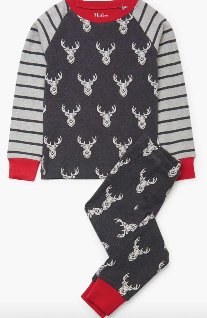 Patterned Stags Organic Cotton Raglan PJ