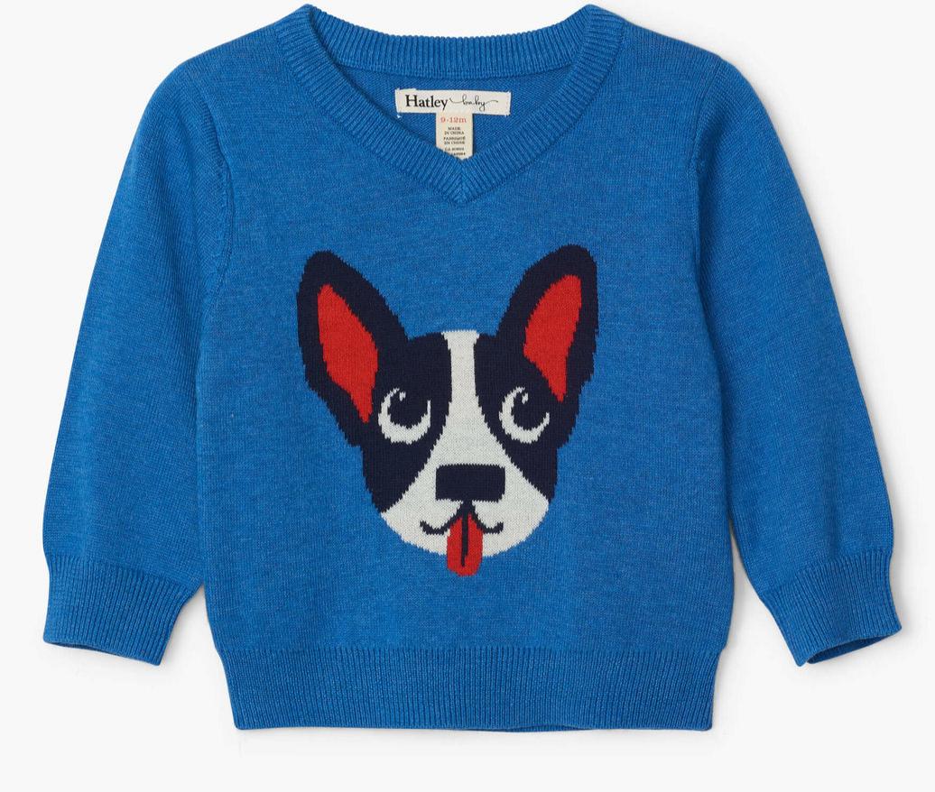 Playful Puppy v-neck sweater